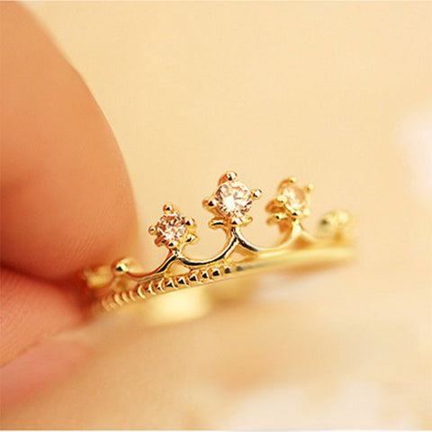 Sweet Love Engagement Gift Shiny Crown Rings For Lovers Women Wedding Fashion Jewelry Accessories Ring Hot Sale Free Shipping