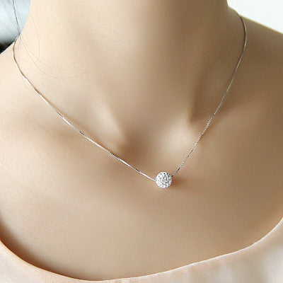 S925 pure silver necklace female short design crystal ball chain elegant brief anti-allergic