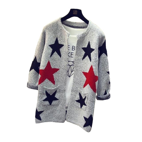 2017 New Fashion Star Pattern Cardigans Female Sweaters Knitted Long Sleeve Slim Women Sweater Cardigan SW153