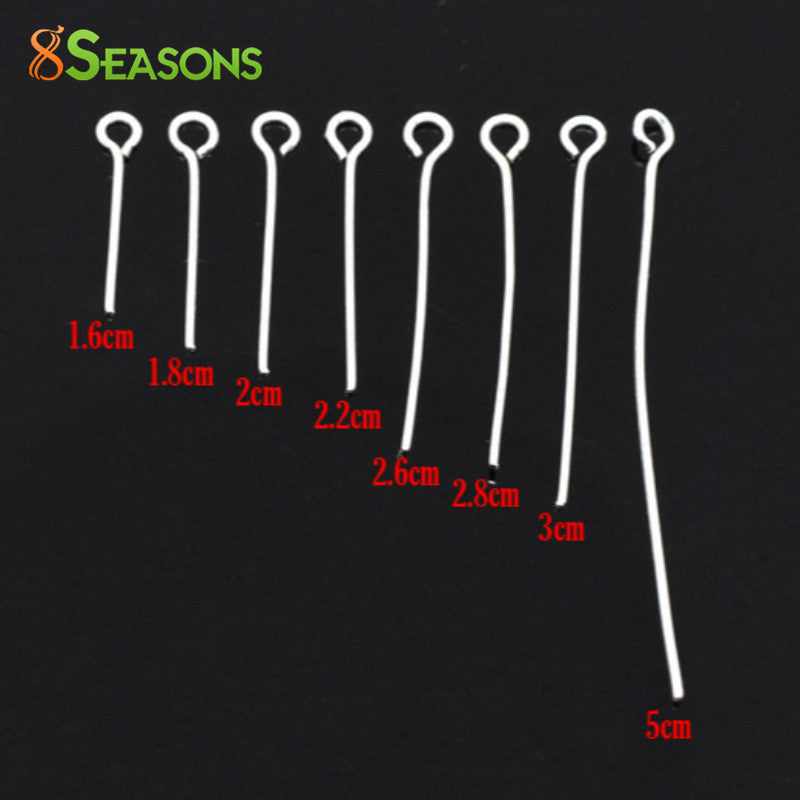 8SEASONS 800 PCs Mixed Silver Plated Eye Pins Findings 0.7mm(21 gauge) (B03620),
