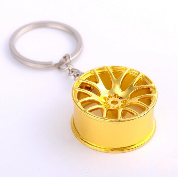New Design Cool Luxury metal Keychain Car Key Chain Key Ring wheel hub chain color  pendant For Man Women Gift wholesale YS00066