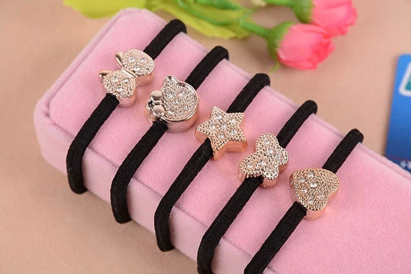10pcs/lot Crystal Heart Cat Star Butterfly Black Elastic Ponytail Holders Hair Accessories Girl Women Rubber Band Mixed