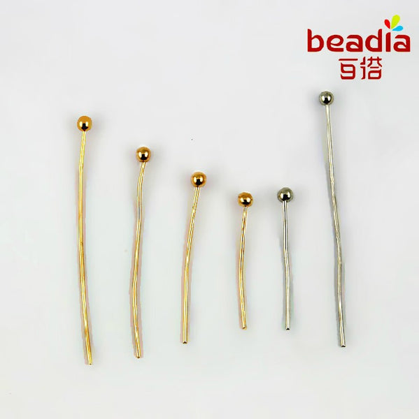 2016 Promotion Best Quality 100 Pcs Gold/Silver Plated Ball Head Pins Jewelry Findings Multi Size Free Shipping