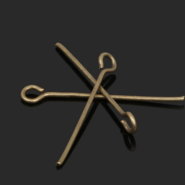 Free Shipping 40MM Plated Metal Silver Gold Bronze Plated Eye Pins /Pins Findings DIY Jewelry Findings 300PCS