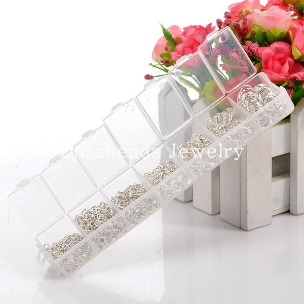 DoreenBeads Free Shipping! 1500 PCs  Silver Plated Open Jump Rings 3mm-8mm (B08915)