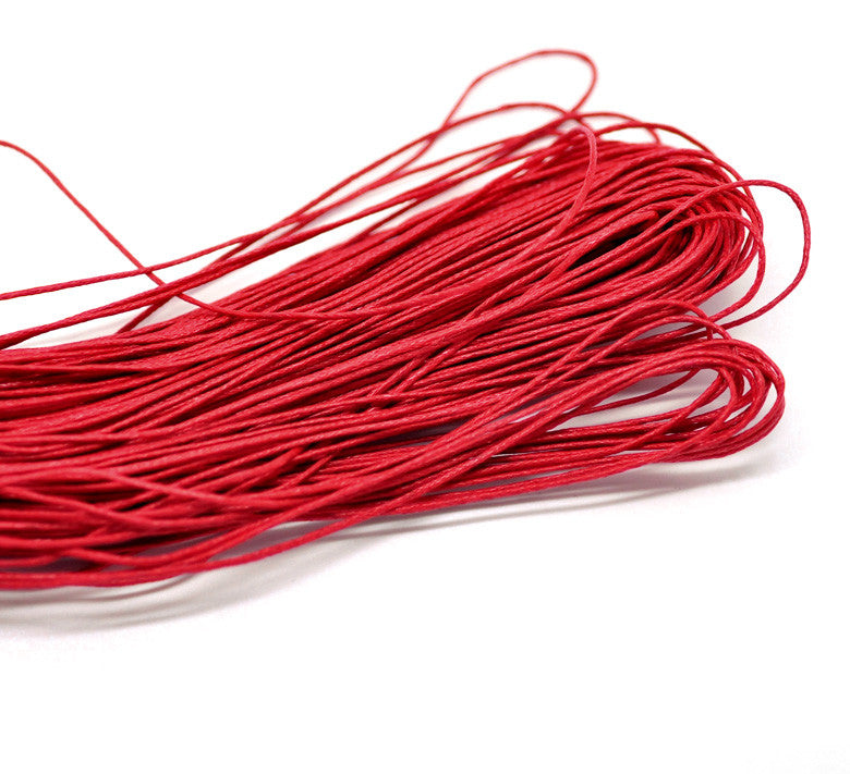 "DoreenBeads Lovely 80M(3149-5/8"") Red Waxed Cotton Cord 1mm for Bracelet/ Necklace (B18503)"