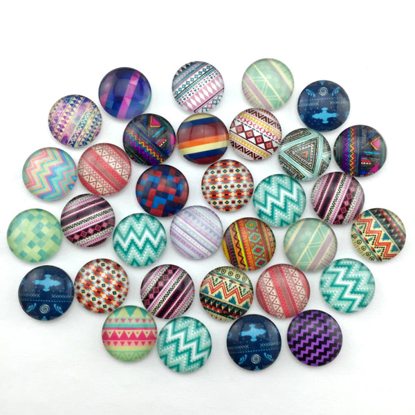 Glass Cabochon 12mm 10mm Mixed Round Photo Cameo Cabochon Setting Supplies for Jewelry Accessories Handmade Pattern 50pcs