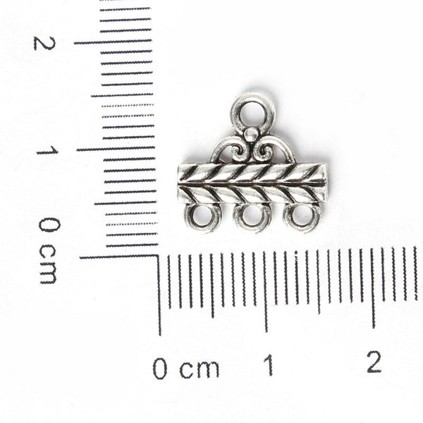 13*14mm 14pcs Zinc Alloy Charms Antique Silver Plated Three Holes Connection Head Jewelry Findings Accessories Fit Jewelry DIY