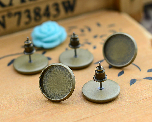 12mm 20pcs Antique Bronze Plated Earring Studs,Earrings Blank/Base,Fit 12mm Glass Cabochons,Buttons;Earring Bezels (L4-02)