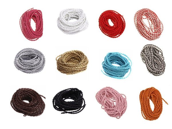 Wholesale 5m/lot Manmade Braided Leather Cord Hemp Rope 3mm for Jewelry Making Bracelet Necklace