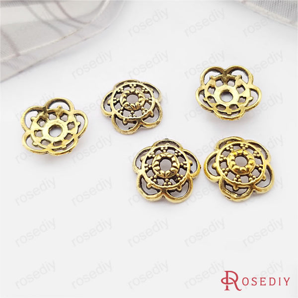 (26927)100PCS 10MM Antique Silver and Bronze Zinc Alloy For Round Beads Caps Diy Jewelry Findings Accessories Wholesale