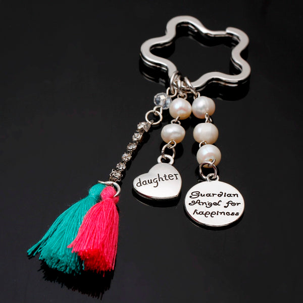 New Keychain for keys porte clef I love you mom dad keychain Love Heart Keychain Red Tassel Key ring For Couple Women Chaveiro