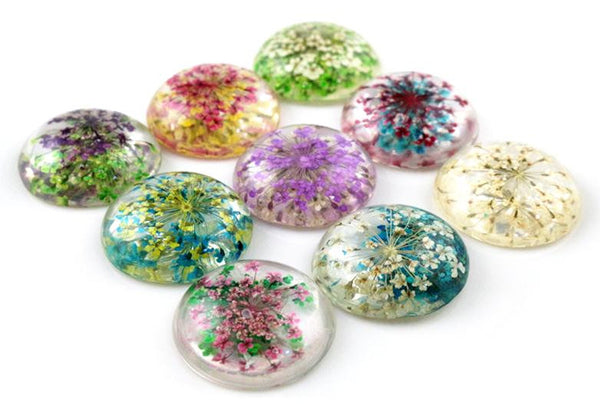 New Fashion 5pcs 25mm Mixed Natural Dried Flowers Flat Back Resin Cabochons Cameo  G3-22