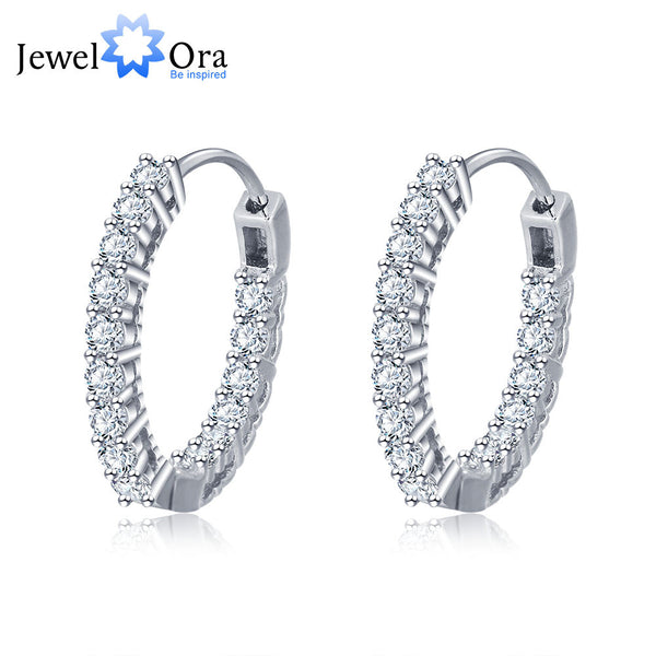 Trendy 925 Sterling Silver Hoop Earrings For Women Cubic Zirconia New 2016 (JewelOra EA101739)