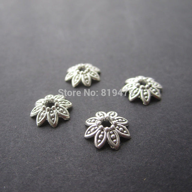 50pcs/lot   Zinc Alloy Antique Silver & Bronze color   Bead Caps Fit  10mm BeadsJewelry Findings Making End Caps