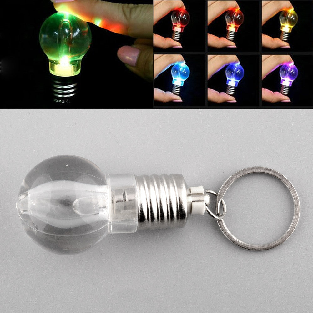 Silver Bright Creative LED Colorful Flash Lights Mini Bulb Torch Keyring Xmas Cute Keychain Keyring Clear Lamp free