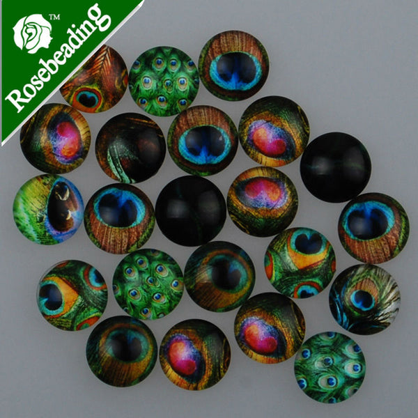50pcs 12mm round pattern glass cabochon,mixed pictures,flat back,thickness 4.5mm-100291