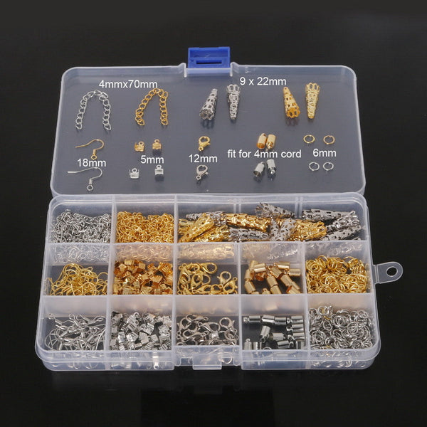 Jewelry Findings Accessories Set Bead Caps Jump Rings Earring Hook Crimp End Cap Lobster Clasp Extension Chain DIY Making