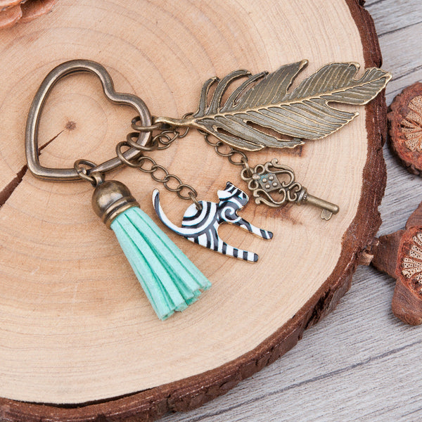 DoreenBeads Antique Bronze Key Chains&Key Rings vintage feather heart Key Pendant Stripe Cat Tassel Pendants Mint Green Keychain