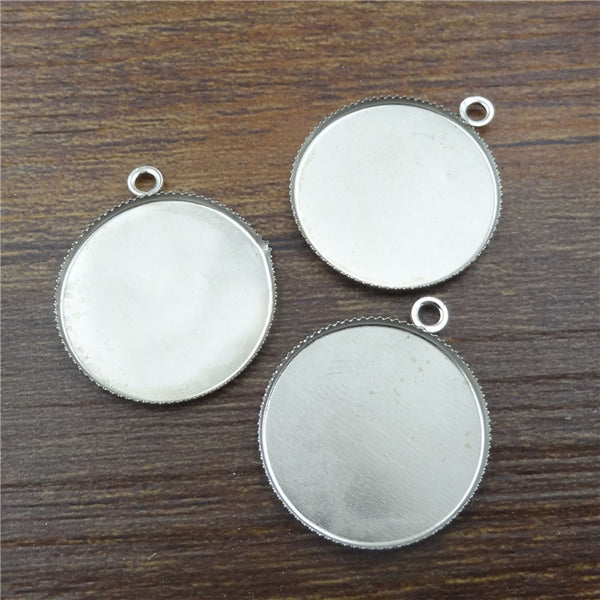 10pcs 20mm Silver plated/bronze Round Necklace Pendant Setting Cabochon Cameo Base Tray Bezel Blank Jewelry Findings&components