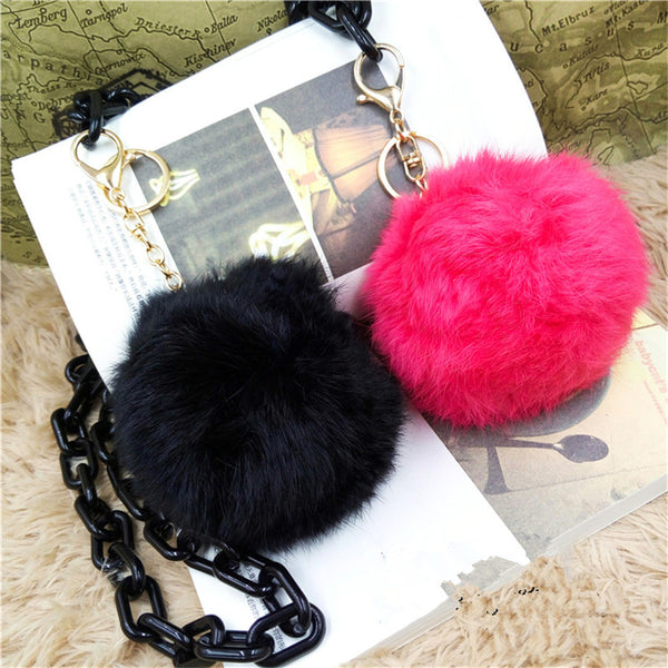 Wholesale New Fashion Chaveiro Keychain Fur Pom Pom Key Chain Real Rabbit Hair Bulb Bag Car Ornaments Fur Ball Pendants Trinket