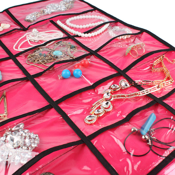 17 Pocket Jewelry Organizer Hanging Pouch Women Necklace Bracelet Earring Ring Holder Fashion Jewelry Storage Box Bag #23350