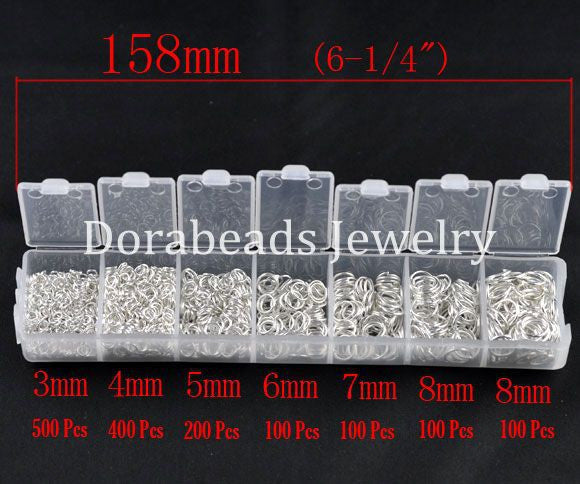 DoreenBeads 1500 PCs Silver Plated Open Jump Rings 3mm-8mm (B08915), yiwu