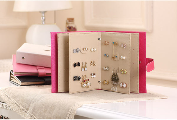 2016 Pu leather Stud Earrings collection book pattern  portable jewelry display creative jewelry storage box
