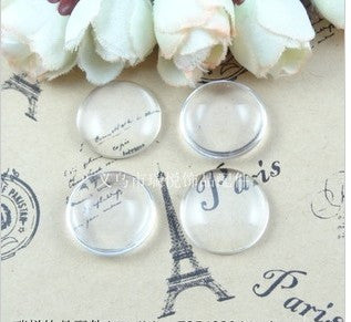 A1903 Free Shipping!100pcs/lot  25mm Good Quality Domed Round Transparent Clear Glass Cabochons Cameo settings Glass Cover
