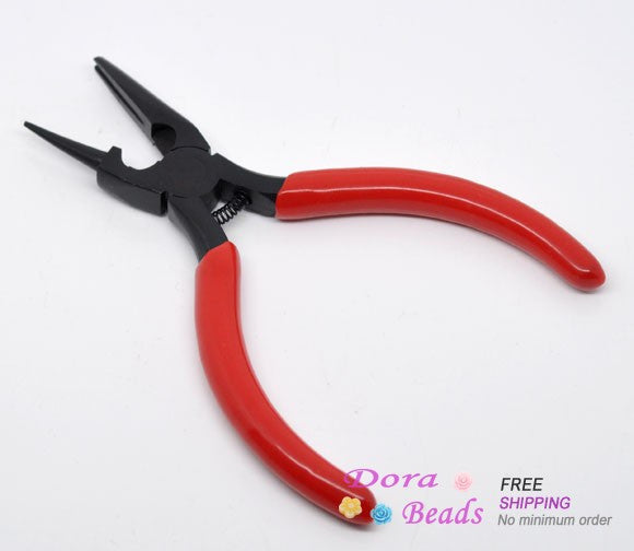 DoreenBeads 2016 Hot Sale High Quality DIY Equipments Red Round Nose and Concave Pliers DIY Beading Jewelry Making Tool (B08925)