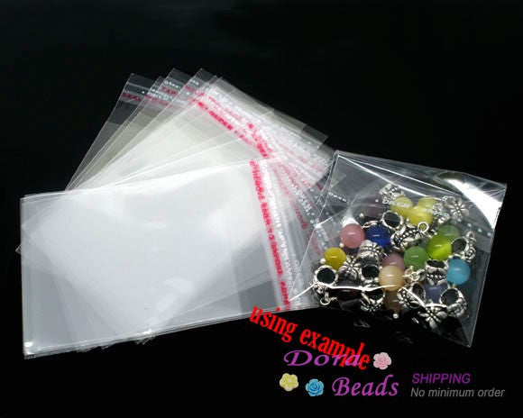 DoreenBeads Free Shipping 200 Pcs Clear Self Adhesive Seal Plastic Bags Transparent Opp Packing Bags 9x6cm (Usable Space: 7x6cm)