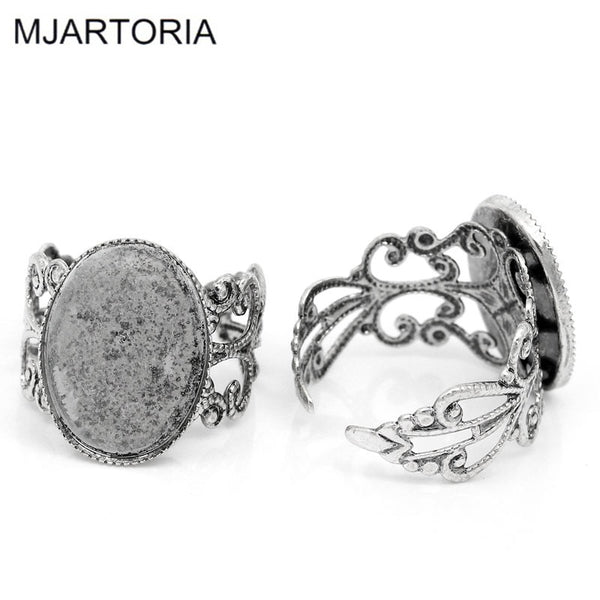 MJARTORIA 10PCs Oval DIY Adjustable Rings Base for Jewelry Ring Blanks Settings Hollow Silver Tone Supplies for Jewelry 18.3mm