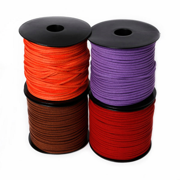 mixed color black white brown 100Yards 3mm Flat Faux Suede Korean Velvet Leather Cord string Rope Thread Lace Jewelry Findings