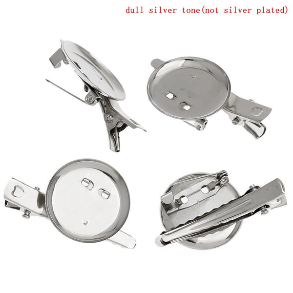 DoreenBeads Silver Tone Alligator Prong Clip Brooches with Pin Needle 4x2.3cm (Pad 23mm), sold per packet of 3 2015 new
