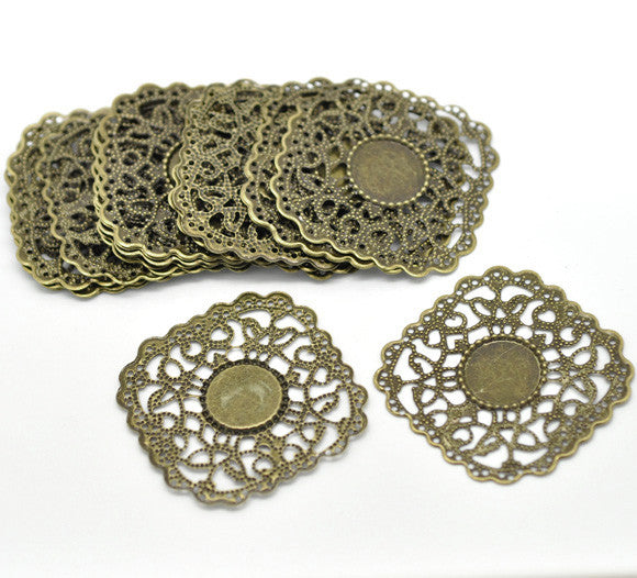 DoreenBeads Antique Bronze Filigree Wraps Connectors 4.3x4.3cm(Fit 14.5mm), sold per lot of 30 (B16287), yiwu