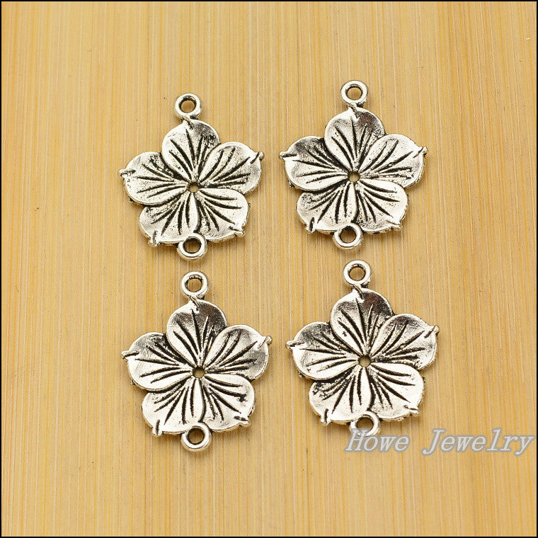 21 pcs Vintage zinc alloy charms Flower connector pendant DIY Bracelet Necklace metal jewelry accessories Making