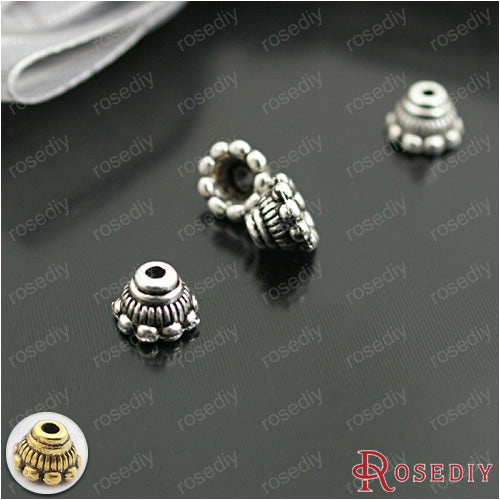 (26931)100PCS 7*5MM Antique Silver Plated Zinc Alloy Round Beads Caps Bead Caps Diy Handmade Jewelry Findings Accessories