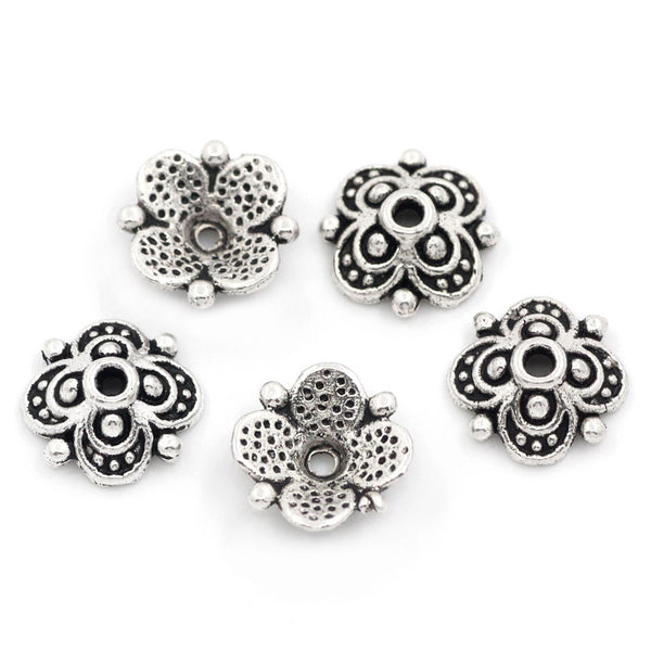 "100PCs Bead End Caps Findings Four Flower Antique Silver Beads Caps Engraved For Jewelry Making 10mmx10mm(3/8""x3/8"")"