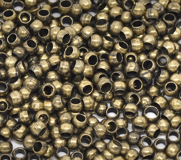"DoreenBeads Alloy Crimp Beads Round Antique Bronze 1.5mm 2.5mm(1/8"")Dia,200 PCs"