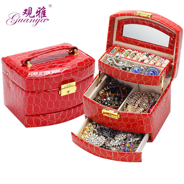 Jewelry Box 3 layers Jewelry case Jewelry Package Storage 16*13*12cm holding ring necklace bracelet earring lady gift