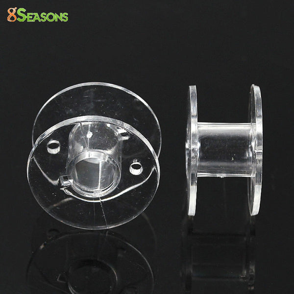 8SEASONS 50 Clear Plastic Spools for Thread String / Sewing Machine Bobbin Case 20x11mm (B14068)