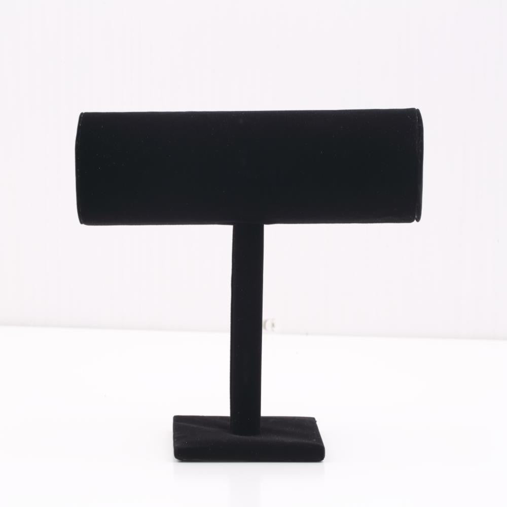 1Pc High Quality Black Velvet Hard Jewelry Display Stand Holder T-Bar Bracelet Chain Watch Rack