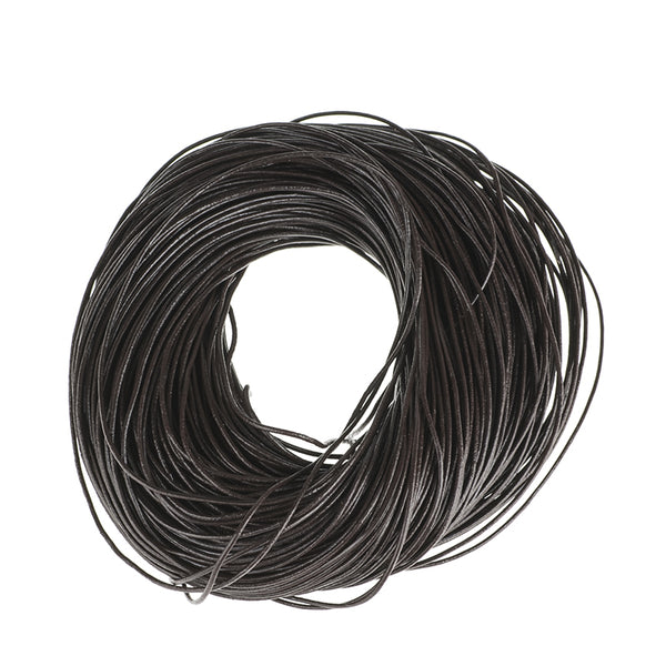 5Meters 1.5mm Jewelry DIY Dark Brown/Natural Color/Black Round Genuine Cow Leather Cords For Necklace  Bracelets Cord