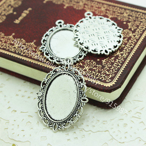 Sweet Bell 20pcs/lot Antique silver filigree cameo cabochon base setting pendant tray 18*25mm Jewelry Blanks D0083