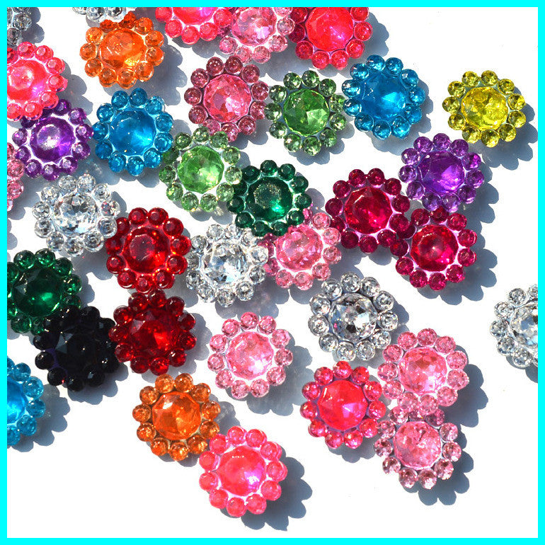 flower flatback resin rhinestone for DIY deco,12MM 500Pcs/Lot  Mix Color Clear Crystal Cabochons Gemstone, Jewelry Accessories