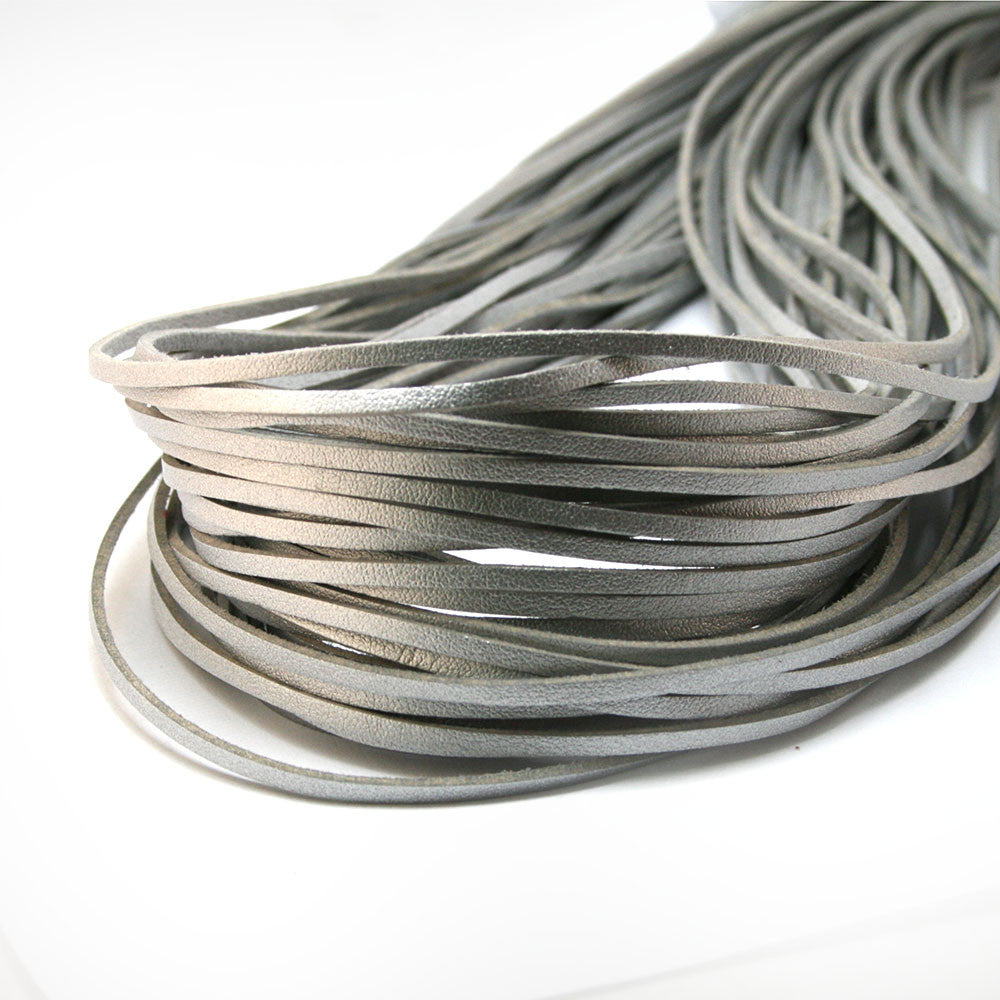 Silver 1M 3mm Flat Faux Suede Korean Velvet Leather Cord string Rope Thread Jewelry Findings FXU004-01SL
