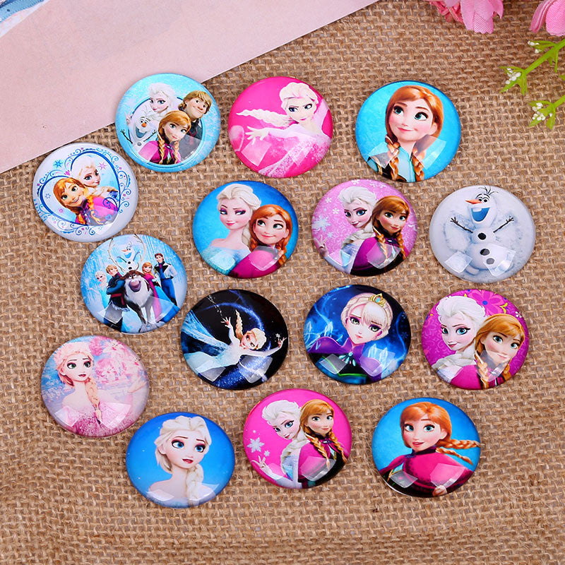 round shape mix cartoon princess elsa photo glass cabochons 10mm 12mm  14mm 18mm 20mm 25mm diy pendants necklace earring making