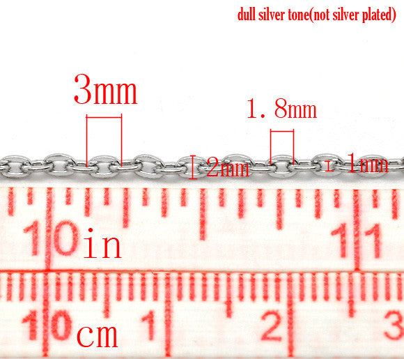 DoreenBeads Free Shipping! Silver Tone Links-Opened Cable Chains Findings 3mm x 2mm, sold per lot of 10M (B15316)