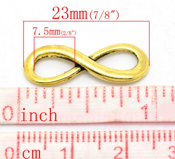 "DoreenBeads Lovely 30PCs golden tone  Infinity Symbol Connectors 23x8mm(7/8""x3/8"") (B20955)"