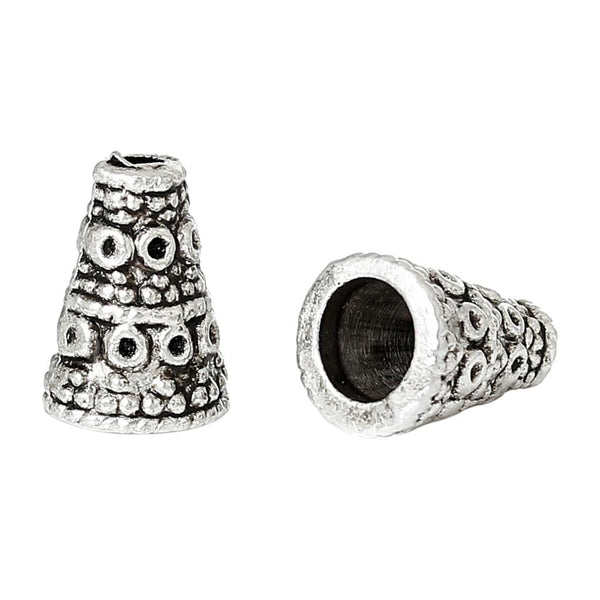 "DoreenBeads Zinc metal alloy Beads Caps Cone Antique Silver (Fits 6.0mm Beads) Dot Pattern 10.0mm( 3/8"") x 7.0mm( 2/8""), 10 PCs"